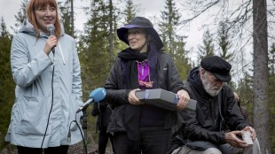 Author Margaret Atwood attends a ceremony with the Future Library near Oslo, Norway, on Tuesday, May 26, 2015. Canadian literature legend Margaret Atwood has submitted an unread, unpublished manuscript to a project that will keep the work under wraps for the next century. The Toronto-based Man Booker Prize winner is the first author to hand over a piece to the Future Library in Oslo. HO - Future Library, Kristin von Hirsch