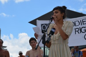 """Alysha Brilla speaks """"Bare with Us: Top Freedom Rally at Waterloo Town Square, Aug 1, 2015"""