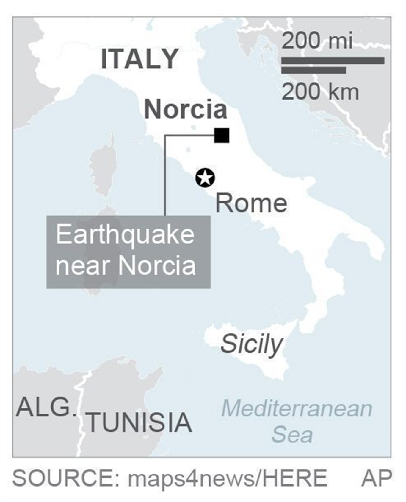 Natural disaster hits central Italy