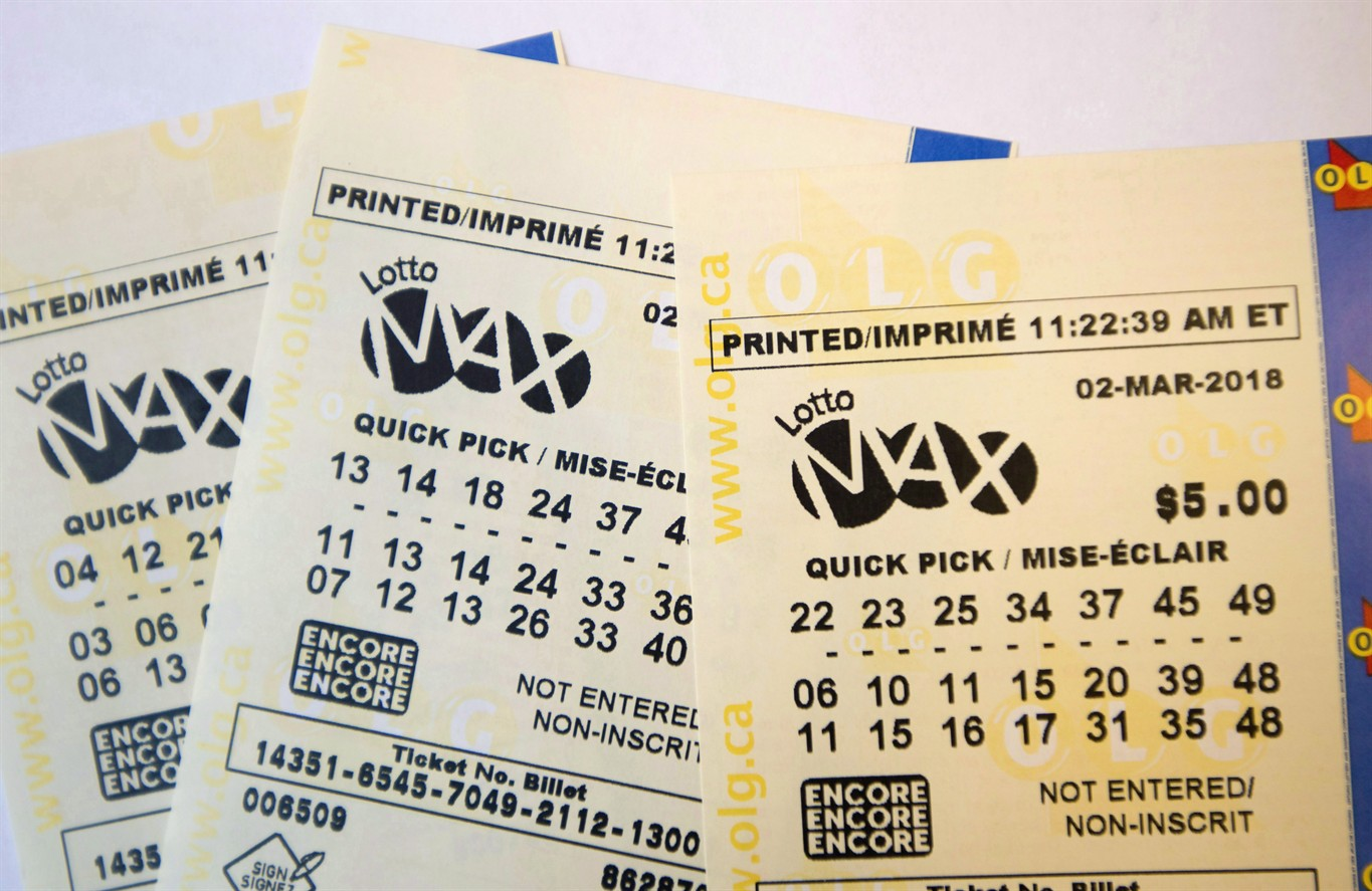 A lotto Max ticket is shown in Toronto on Monday Feb. 26 2018. THE CANADAIN PRESS