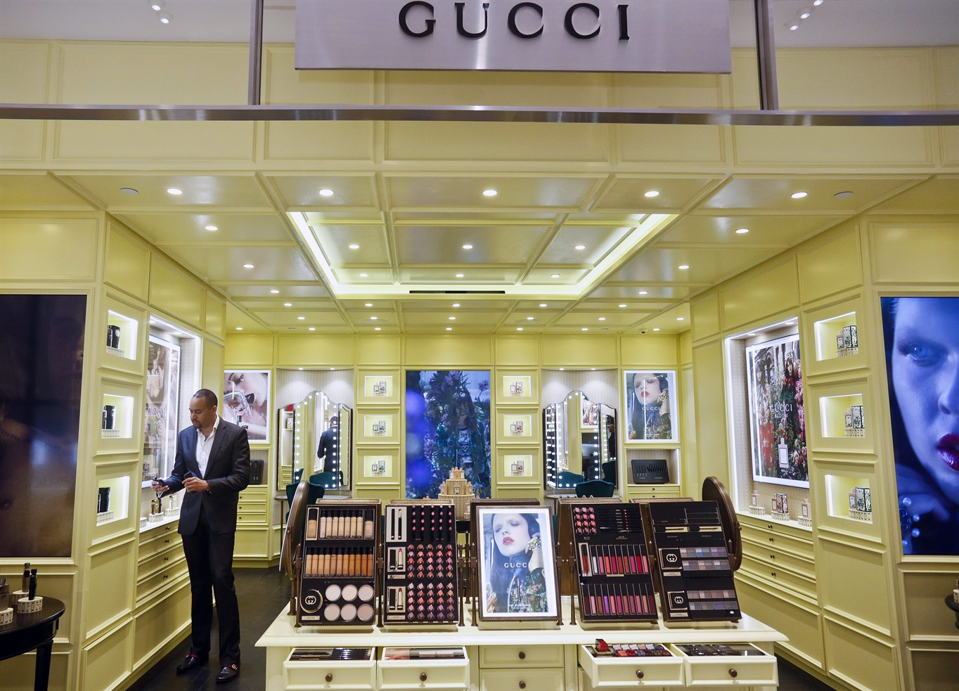 f35b8b86ba27 This May 22, 2018, photo shows the new Gucci space is among vendors on the  revamped second floor devoted to beauty at Saks Fifth Avenue in New York.
