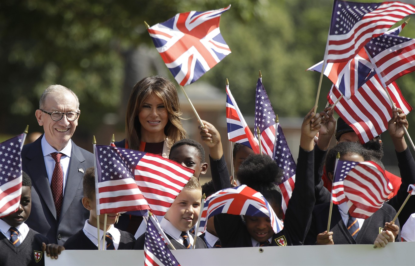 Melania Trump steps out in London for event with British schoolchildren