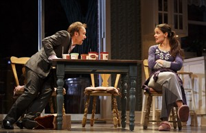 """FILE- This undated file photo provided by Boneau/Bryan-Brown shows Nobert Leo Butz as Jack, left, and Katie Holmes as Lorna, in a scene from """"Dead Accounts"""" at Broadway's Music Box theatre in New York. Holmes' play """"Dead Accounts"""" will close within a week of the new year. Producers said Thursday, Dec. 27, 2012, that Theresa Rebeck's drama will close on Jan. 6 after 27 previews and 44 performances.(AP Photo/Boneau/Bryan-Brown, Joan Marcus, File)"""