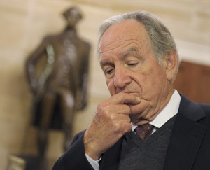 Sen. Tom Harkin, D-Iowa pauses as he talks about the fiscal cliff with reporters, on Capitol Hill in Washington, Friday, Dec. 28, 2012. (AP Photo/Susan Walsh)