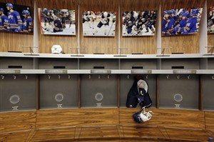 In this Sept. 25, 2012 photo, an empty locker room is shown during the NHL labor lockout in Buffalo, N.Y. THE CANADIAN PRESS/AP, David Duprey