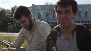 Simon Fraser University film students Mackenzie Warner (left) and Ian MacDougall sit in Clarksdale, Mississippi on Saturday April 28, 2012, as they search for Morgan Freeman to narrate their movie. MacDougall's cross-border odyssey to track down one of Hollywood's premier heavyweights may have turned him into a short-term online sensation, but continues to prove that brushes with true stardom are far more fleeting. THE CANADIAN PRESS/HO-Ian MacDougall and Mackenzie Warner