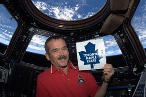 """Canadian astronaut Chris Hadfield shows his colours in photo posted on Twitter on Jan. 6, 2013. """"With the lockout finally ending and a 50-game NHL season about to begin, I am ready to cheer from orbit. Go Leafs!,"""" noted Hadfield. THE CANADIAN PRESS/Chris Hadfield, NASA, via Twitter"""