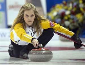 Manitoba skip Jennifer Jones releases her rock during second draw curling action against British Columbia at the Scotties Tournament of Hearts Sunday, February 17, 2013 in Kingston, Ont.THE CANADIAN PRESS/Ryan Remiorz