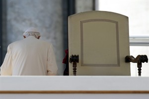 Pope Benedict XVI leaves after celebrating his last general audience, in St. Peter's Square, at the Vatican, Wednesday, Feb. 27, 2013. THE CANADIAN PRESS/AP, Gregorio Borgia