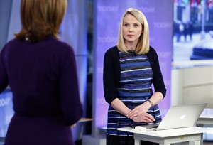 """This image released by NBC shows Yahoo CEO Marissa Mayer on NBC News' """"Today"""" show, Wednesday, Feb. 20, 2013 in New York to introduce the website's redesign. Yahoo is renovating the main entry into its website in an effort to get people to visit more frequently and linger for longer periods of time. The long-awaited makeover of Yahoo.com's home page is the most notable change to the website since the Internet company hired Marissa Mayer as its CEO seven months ago. The new look will start to gradually roll out in the U.S early Wednesday. (AP Photo/NBC Peter Kramer/NBC/NBC NewsWire)"""