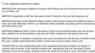 Petition supplied by Kitchener-Conestoga MPP Michael Harris.