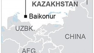 BAIKONUR RUSSIAN ROCKET 051615: Map locates Baikonur, Kazakhstan, where a rocket was launched that malfunctioned; 1c x 2 inches; 46.5 mm x 50 mm;