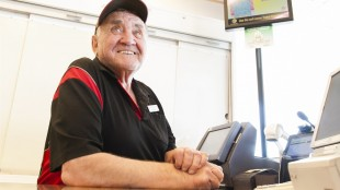 Dick Assman smiles at a South Albert St. Petro-Canada gas station in Regina, Saskatchewan on Tuesday, May 19, 2015. The 81-year-old Saskatchewan gas jockey still has vivid memories of stepping out on David Letterman's stage. THE CANADIAN PRESS/Michael Bell