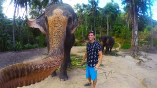 Christian LeBlanc, a 22-year-old from B.C., says he was feeding this elephant bananas when it grabbed his GoPro camera and snapped an 'elphie' or elephant selfie, in Thailand in this undated handout photo. THE CANADIAN PRESS/ HO, Christian Leblanc