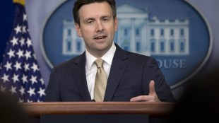 White House press secretary Josh Earnest speaks during the daily news briefing at the White House in Washington, Tuesday, May 26, 2015. Earnest discussed Defense Secretary Ashton Carter's assertion that Iraqi forces lack the will to fight undermines the central premise of the White House strategy for defeating the Islamic State, White House-backed USA Freedom Act, and other topics. (AP Photo/Carolyn Kaster)