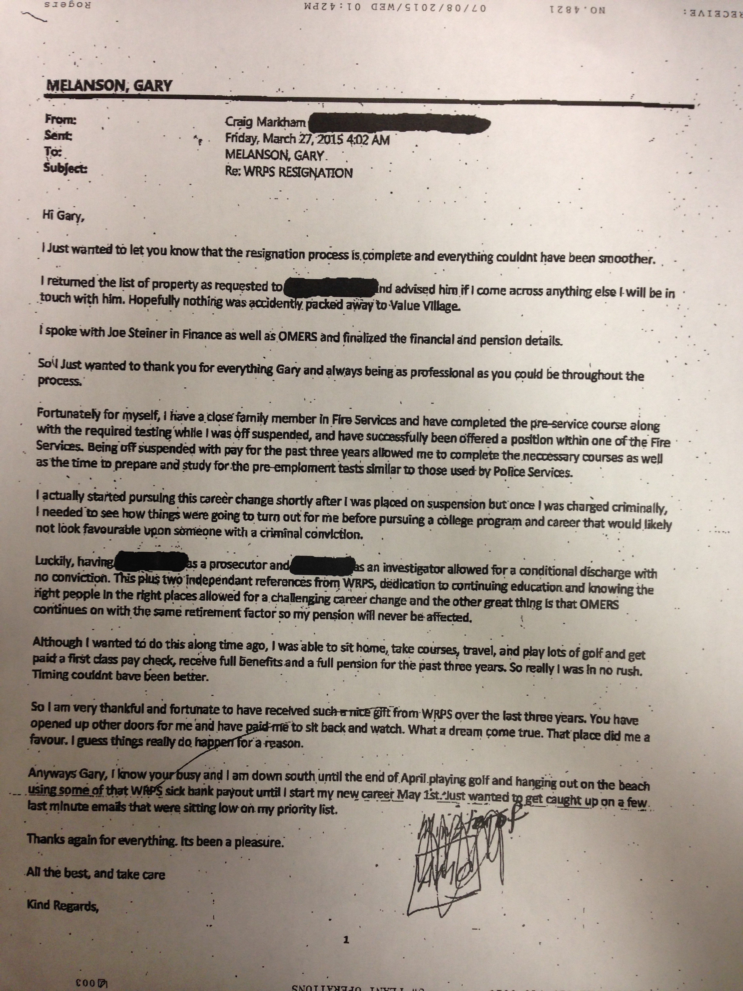 Suspended police officer speaking out after e mail