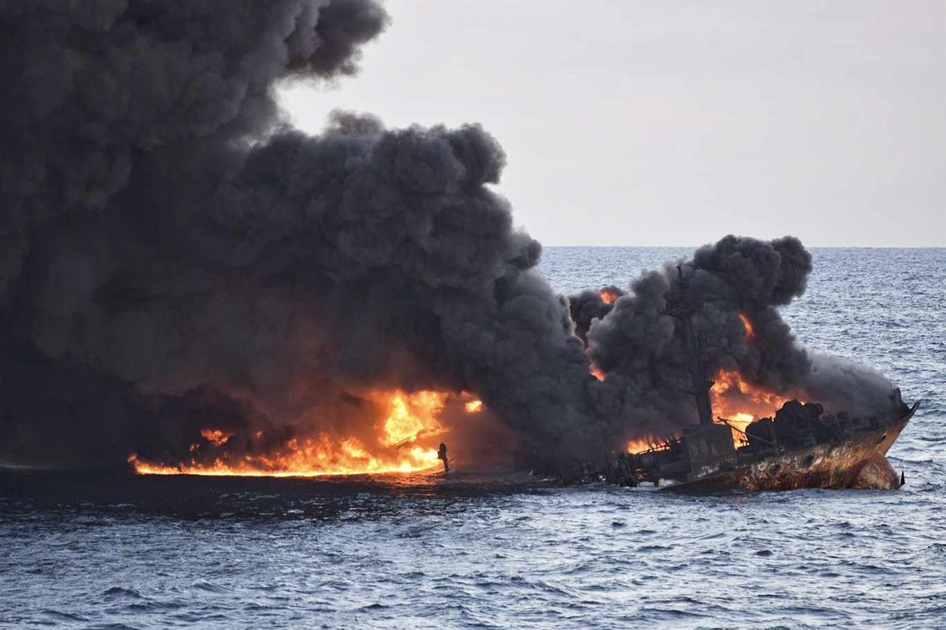 Blazing tanker sinks with 'no hope' for crew